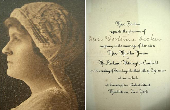 wedding invitation of martha mears yocum and richard withington canfield