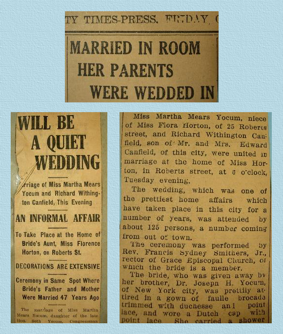 wedding announcements of martha mears yocum and richard withington canfield